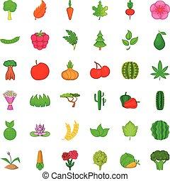 Environment icons set, cartoon style