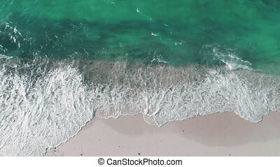 Environment problem of global ocean pollution aerial. Closeup waves washed sand beach. Seascape with green dirty sea water. Environmental damage. Summer tropic nature landscape. Sewage pollute issue