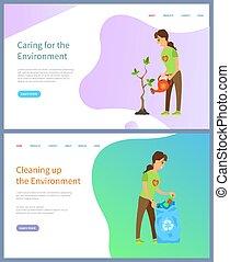 Environment Protection, Volunteering People Vector