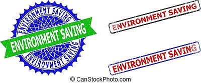 ENVIRONMENT SAVING Rosette and Rectangle Bicolor Stamp Seals with Unclean Textures