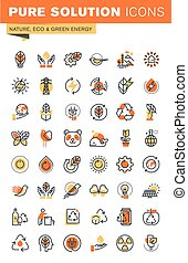 Environment thin line web icons - Environment thin line flat...