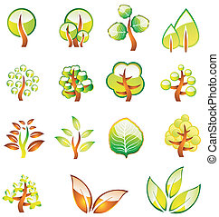Environment Trees Glossy Icons - A glossy tree and leafs...