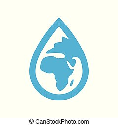 Environment water icon. Blue planet earth in water drop symbol