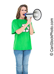 Environmental activist screaming in a megaphone