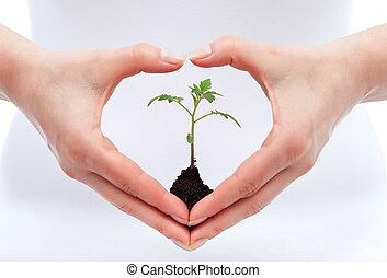 Environmental awareness and protection concept - woman...