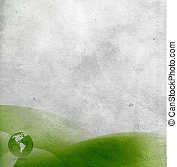 Old paper background with green abstract design and world globe