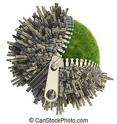 environmental change concept - conceptual miniature planet...
