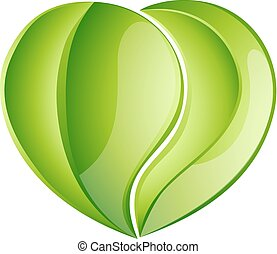 Environmental charity love green leaf heart concept. Leaves growing into a heart shape, concept for any environmental conservation issue, charity work or earth day