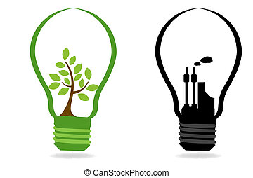illustration of comparison between two bulbs with plant and industry on white background