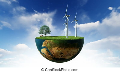 Environmental concept, Earth globe holding wind turbines...