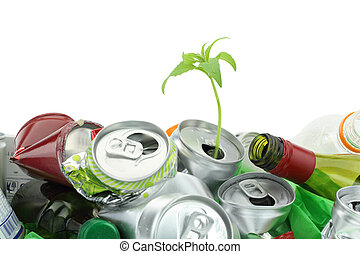 Environmental conservation concept. Garbage with growing plant