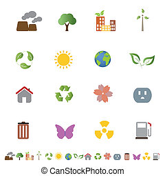 Environment related clean energy and ecology icon set