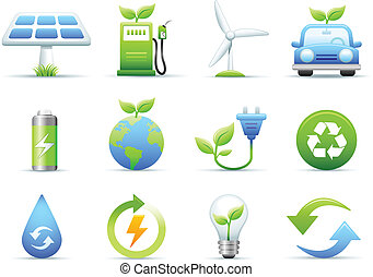 Environmental & Green Energy Icons Set on white background. Created in Adobe Illustrator. File is AI8 .eps Map traced on December 2006 with Adobe Illustrator 10 by using base map from domain).