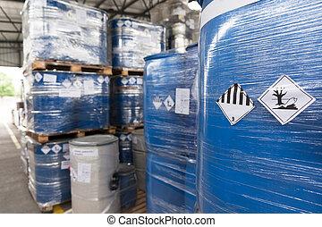 Environmental hazard barrels - Waste barrels with hazard...