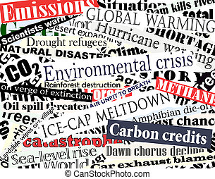 Illustration of newspaper headlines on an environmental theme