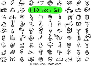 Environmental icon set vector illustration sketch doodle hand drawn with black lines isolated on white background