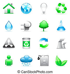 Environmental icons. - Set of 16 environmental icons.