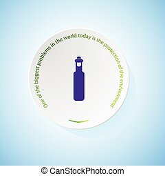 Environmental icons depicting bottle olive oil with shadow