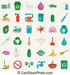 Environmental icons set, cartoon style