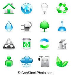 Set of 16 environmental icons.