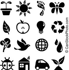 Set of black icons with different symbols of the green movement. Each icon is grouped individually for easy editing.
