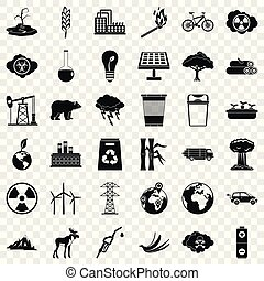 Environmental icons set, simple style