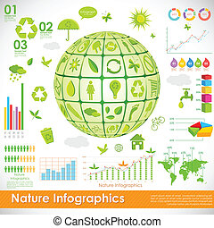 Environmental Infographic - illustration of recycle globe in...