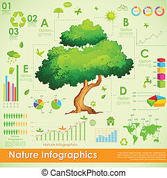 illustration of tree in environmental infographic