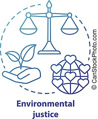 Environmental justice concept icon. Equitable attitude towards earth idea thin line illustration in blue. Taking care of nature and environment. Sustainable living. Vector isolated outline drawing