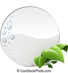 Blank round environmental label with green leaves isolated on white.
