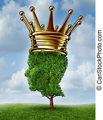 Environmental Leadership concept with a tree in the shape of a human head wearing a gold crown as an award for being a leader for conservation and the protection of the environment on a summer sky background. green, responsability,