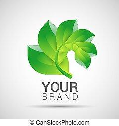 Environmental leaves branch logo Vector eco organic
