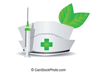 environmental medicine. medical cap, syringe, leaves...