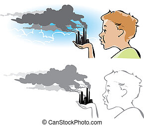 Cartoon on environmental pollution: a boy trying to blow out the factory chimneys