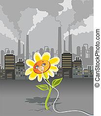 Cartoon on environmental pollution - flower breathing using oxygen mask