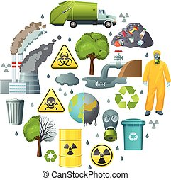 Round composition of isolated decorative elements with environmental pollution symbols infection radiation signs and biohazard suit vector illustration