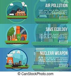 Environmental Pollution Colored Banner Set - Environmental...