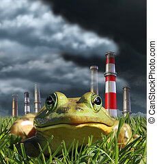 Environmental pollution and global warming concept with a frog sitting in front of a group of industrial smoke stacks releasing toxic fumes as a symbol for greehouse gas danger and the fragility of nature..