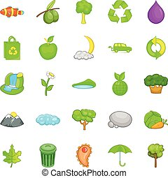 Environmental pollution icons set, cartoon style