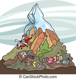 environmental pollution - illustration of mountain and lot ...