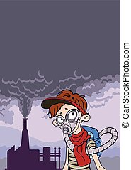 Environmental pollution poster. Smoke from a factory chimney and man in the gas mask. Post-apocalyptic landscape. Vector illustration with copy space.