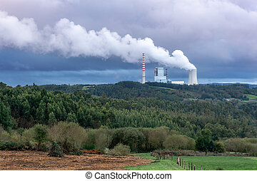Environmental pollution problem concept. Coal power plant polluting the planet