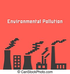 environmental pollution with factory silhouette