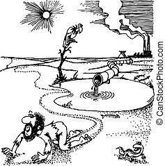 Environmental problem - Man crawling in the desert