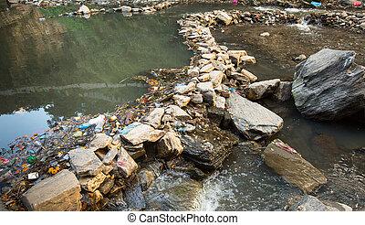 Environmental problems. Plastic Contamination into Nature. ...