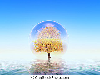 environmental protection - a tree inside a water bubble