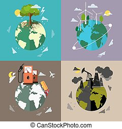 Environmental protection backgrounds - Four flat ecology ...