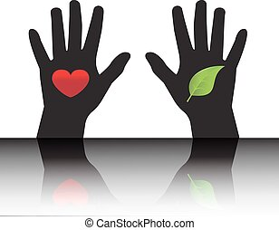 environmental protection - Black silhouettes of hands ...