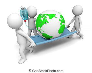 Environmental protection - three people carrying the earth