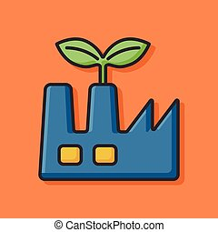 Environmental protection concept factory icon